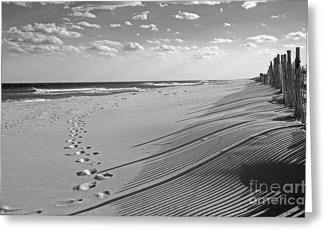 Greeting Card featuring the photograph Footprints In The Sand by Debra Fedchin