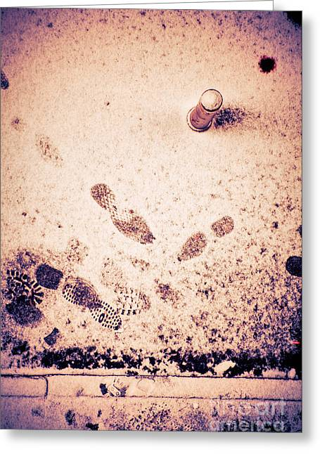 Footprints In The Snow Greeting Card by Silvia Ganora