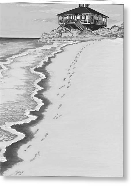 Greeting Card featuring the digital art Footprints On Boca Beach by Carol Jacobs