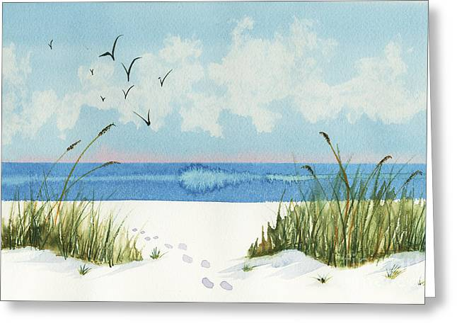 Footprints On The Beach Greeting Card