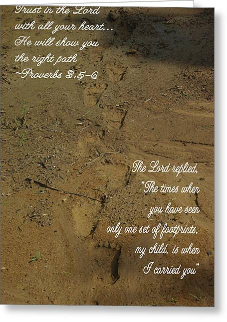 Footprints Proverbs Greeting Card by Robyn Stacey