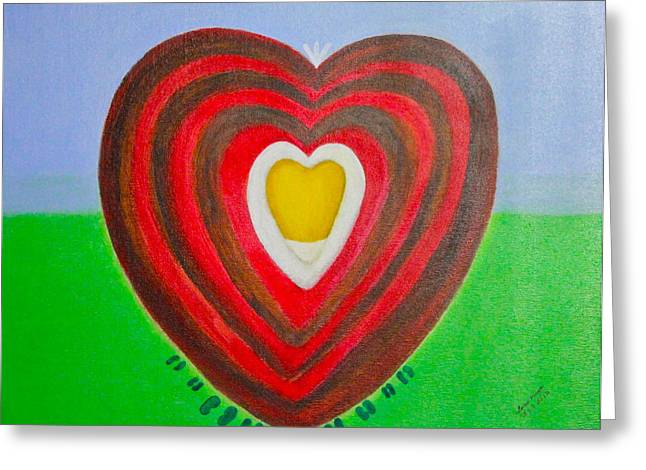 Greeting Card featuring the painting Footsteps And Friendship And The Golden Heart by Lorna Maza