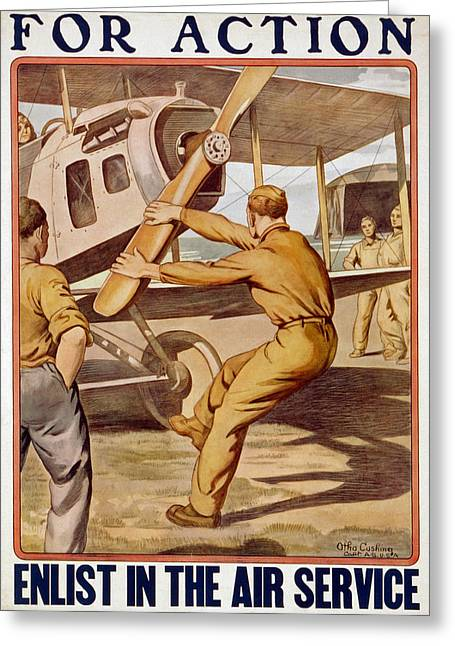 For Action, Enlist In The Air Service Greeting Card by Otho Cushing