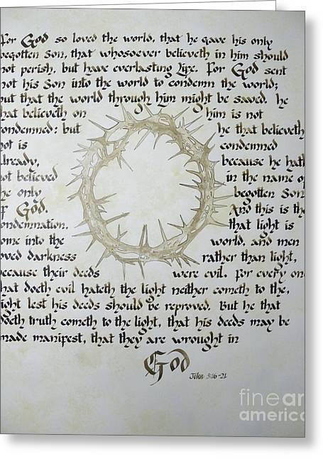For God So Loved The World  Greeting Card by David  Speck