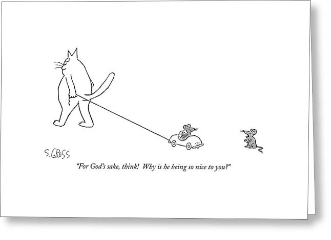 For God's Sake Greeting Card by Sam Gross