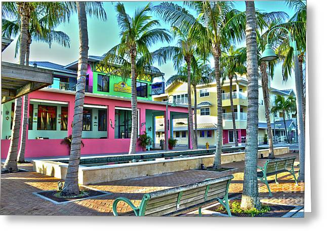 For Myers Beach Restaurant Greeting Card by Timothy Lowry