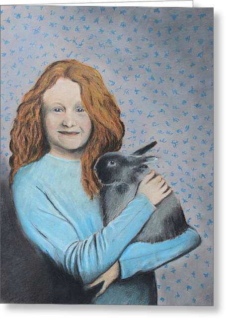 Greeting Card featuring the painting For The Love Of Bunny by Jeanne Fischer