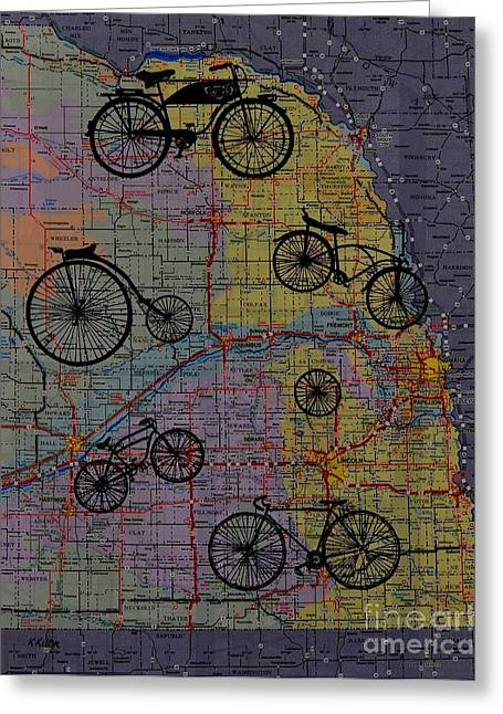 For The Love Of Cycling Greeting Card by Kathleen Keller