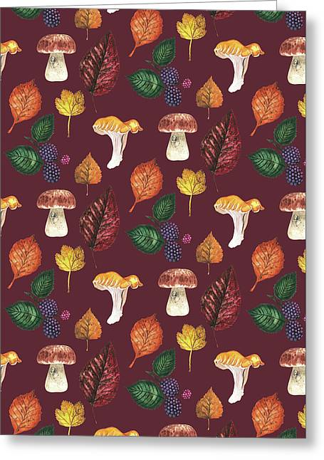 Foraging Multi Print With Brambles Leaves And Mushrooms_burgundy.jpg Greeting Card