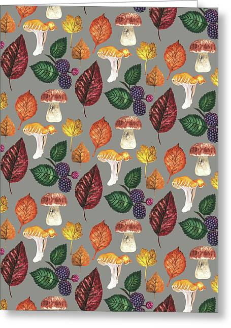 Foraging Multi Print With Brambles Leaves And Mushrooms_grey.jpg Greeting Card
