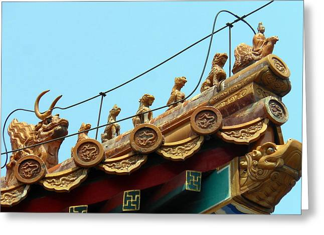 Forbidden City Roof Adornment Greeting Card by Kay Gilley