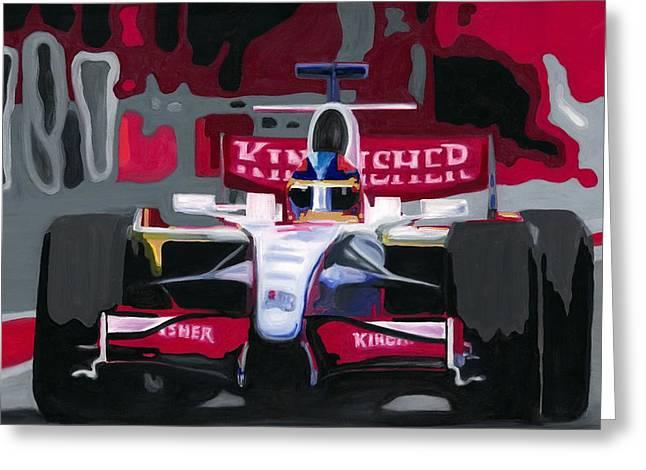Force India Rising In F1 Monaco Grand Prix 2008 Greeting Card