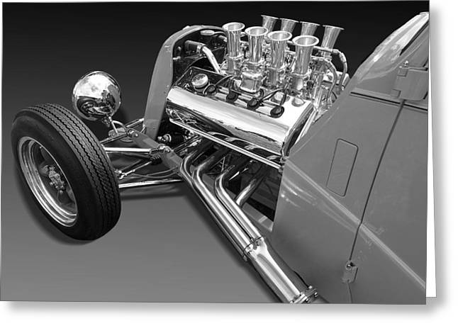 Ford Coupe Hot Rod Engine In Black And White Greeting Card by Gill Billington