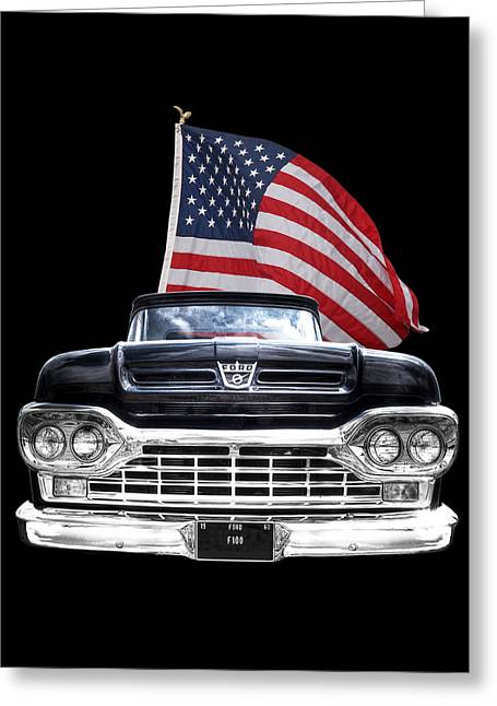Ford F100 With U.s.flag On Black Greeting Card by Gill Billington