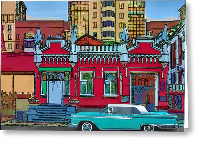 Ford Galaxy-town-victoria 1959 Greeting Card by Vladimir Kholostykh