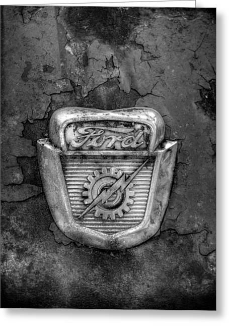 Ford Gear And Lightning In Black And White Greeting Card