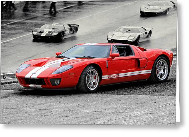 Ford Gt And Gt40 1966 Le Mans Win Greeting Card by Christopher McKenzie