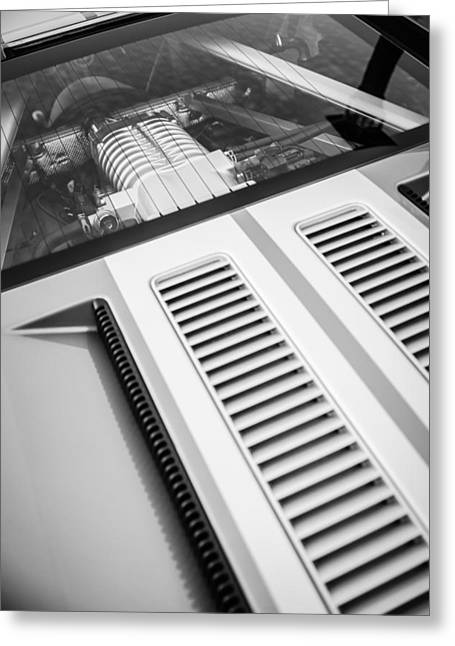Ford Gt Engine -0391bw Greeting Card by Jill Reger
