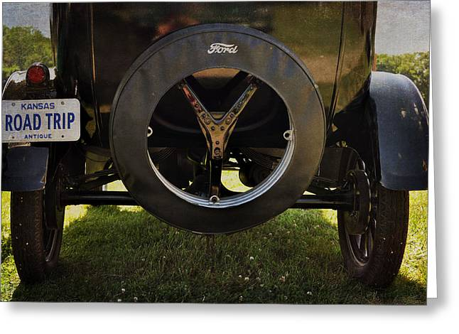 Ford Model T Vintage Car Road Trip Greeting Card by Cat Whipple