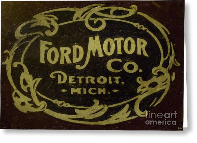 Greeting Card featuring the painting Ford Motor Company by David Millenheft