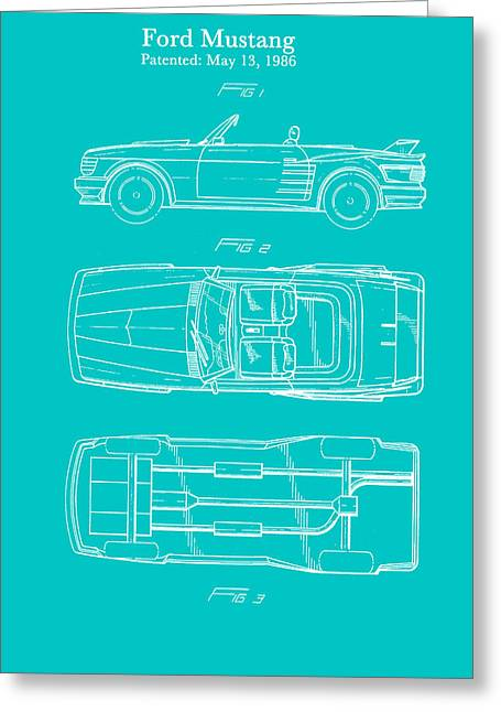 Ford Mustang Automobile Body Patent 1986 Greeting Card by Mountain Dreams