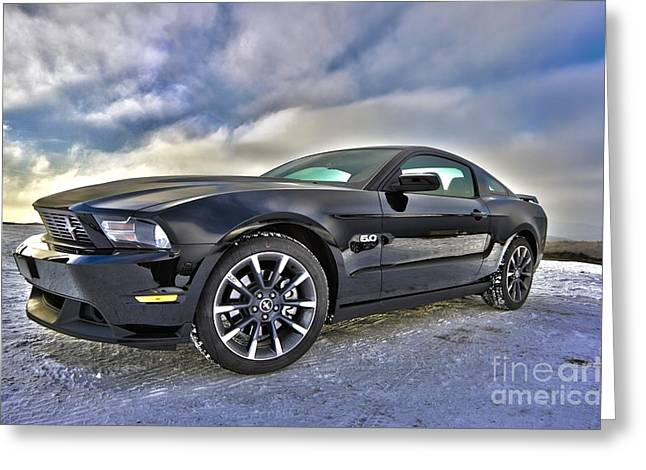Greeting Card featuring the photograph ford mustang car HDR by Paul Fearn