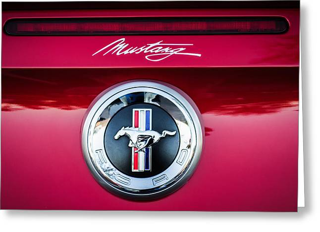 Ford Mustang Gas Cap Emblem -0002c Greeting Card by Jill Reger