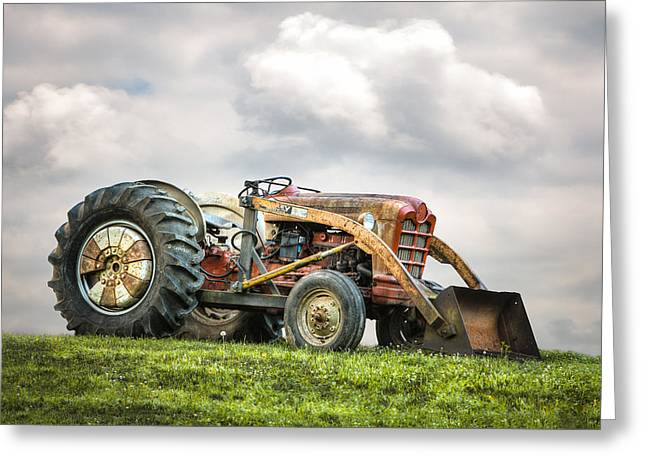 Ford Powermaster Tractor On A Hill Greeting Card
