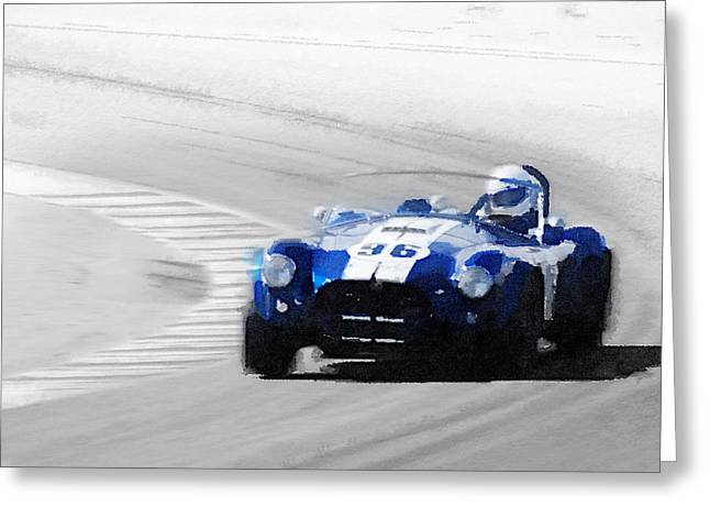Ford Shelby Cobra Laguna Seca Watercolor Greeting Card by Naxart Studio
