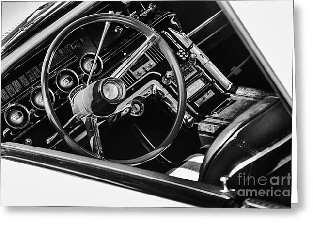 Ford Thunderbird Interior Monochrome Greeting Card by Tim Gainey