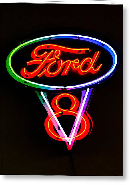 Ford V8 Neon Sign Greeting Card