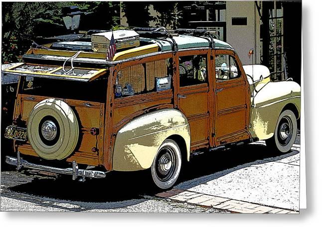 Ford Woodie Greeting Card by Anne Mott