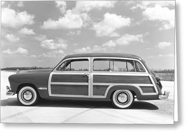 Ford Woody Station Wagon Greeting Card by Underwood Archives