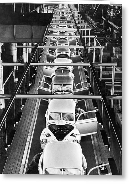 Ford's Mercury Assembly Line Greeting Card by Underwood Archives