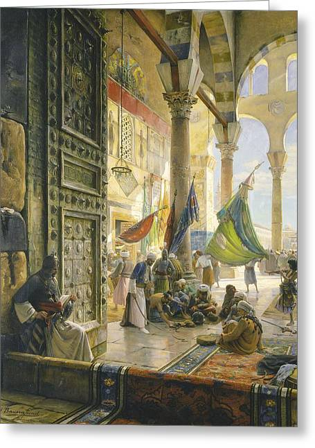 Forecourt Of The Ummayad Mosque, Damascus, 1890 Oil On Panel Greeting Card