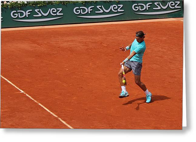 Rafael Nadal's Forehand Impact Greeting Card by Alexi Hoeft