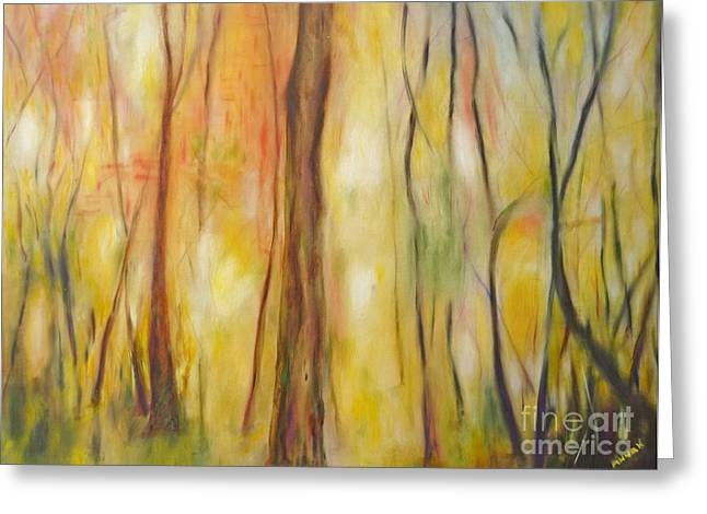 Greeting Card featuring the painting Forest Awakening by Barbara Anna Knauf