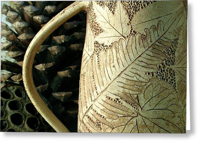 Forest Cup With Three Ferns Greeting Card by Leaves Of Clay