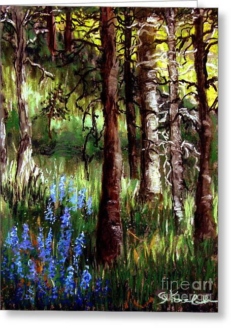 Forest Evening Glow Greeting Card by Carol Kovalchuk