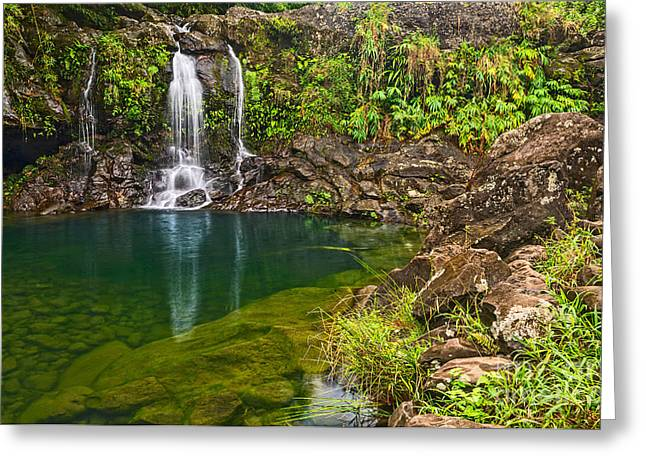Forest Falls - Magical Waterfall Along The Road To Hana In Maui Greeting Card