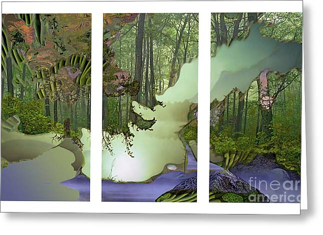 Greeting Card featuring the digital art Forest Fog by Ursula Freer