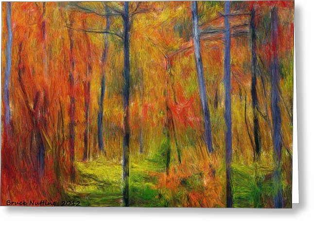 Greeting Card featuring the painting Forest In The Fall by Bruce Nutting