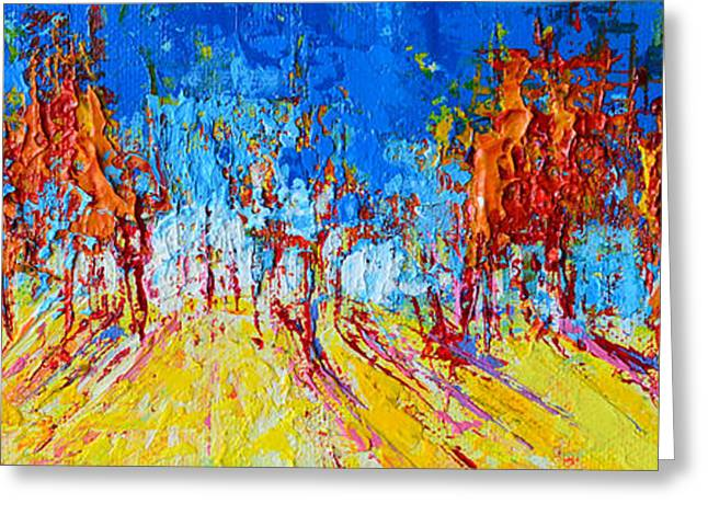 Greeting Card featuring the painting Tree Forest 1 Modern Impressionist Landscape Painting Palette Knife Work by Patricia Awapara