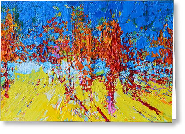 Greeting Card featuring the painting Tree Forest 2 Modern Impressionist Landscape Painting Palette Knife Work by Patricia Awapara