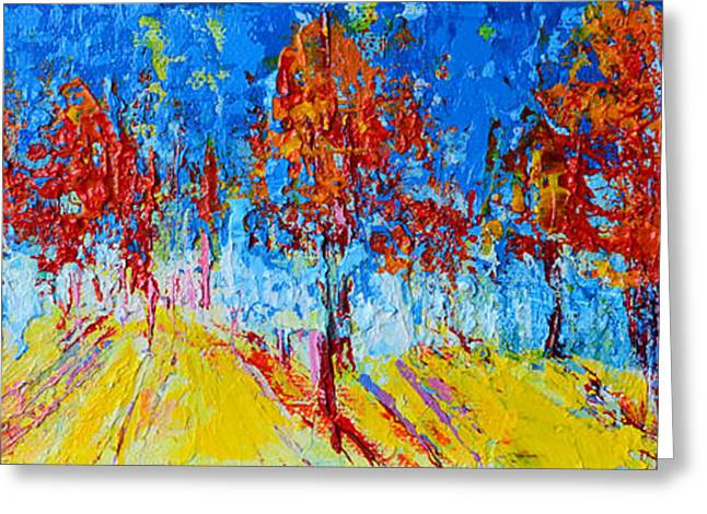 Greeting Card featuring the painting Tree Forest 4 Modern Impressionist Landscape Painting Palette Knife Work by Patricia Awapara