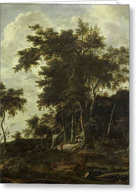 Forest Landscape With A Woodsmans Shed, Roelant Roghman Greeting Card