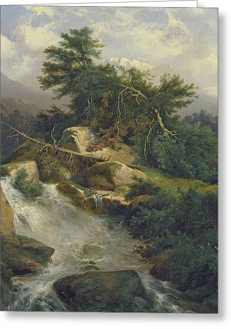 Forest Landscape With Waterfall  Greeting Card by Julius Bakof
