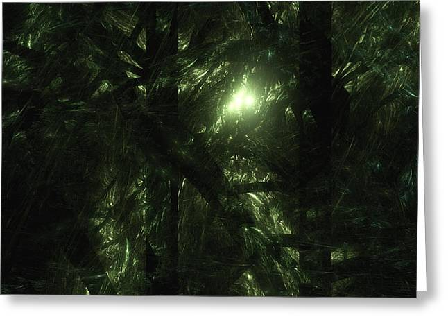 Greeting Card featuring the digital art Forest Light by GJ Blackman