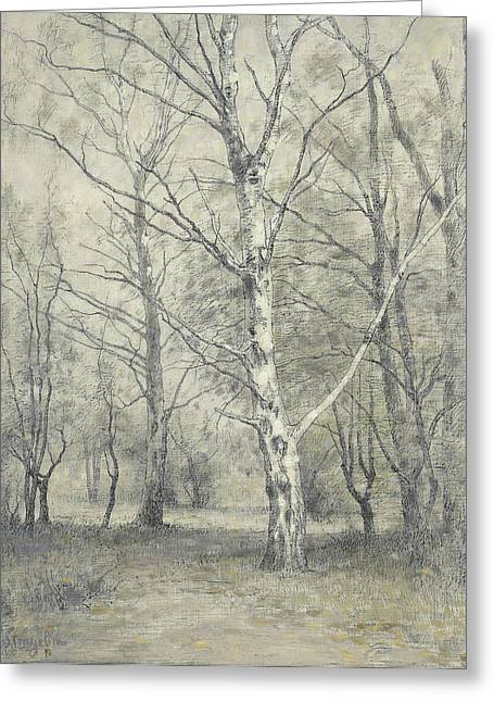 Forest Of Birch Trees, Alphonse Stengelin Greeting Card by Litz Collection