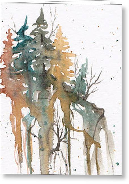 Greeting Card featuring the painting Forest On A Cliff by Rebecca Davis